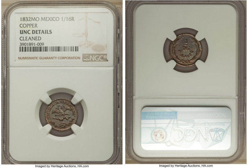 Republic copper 1/16 Real 1832-Mo UNC Details (Cleaned) NGC, Mexico City mint, K...