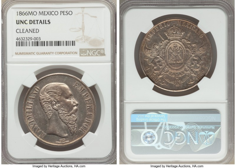 Maximilian Peso 1866-Mo UNC Details (Cleaned) NGC, Mexico City mint, KM388.1. A ...