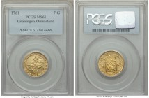 Groningen & Ommeland. Provincial gold 7 Gulden 1761 MS61 PCGS, KM60. Incredibly difficult to obtain in Mint State grades--only two currently certified...