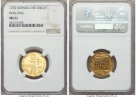 Holland. Provincial gold Ducat 1776 MS61 NGC, KM12.3. Sparkling surfaces with only isolated weakness and tinges of red tone across the reverse.  HID99...