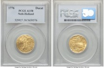 Holland. Provincial gold Ducat 1776 AU58 PCGS, KM12.3. Evincing only light, even rub on the highpoints, the integral details still quite discernable a...