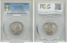 Utrecht. Provincial 1/4 Gulden (5 Stuivers) 1758 MS65 PCGS, KM113. An enticing gem currently seated uncontested at the top of the PCGS census, the bri...