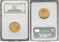 Utrecht. Provincial gold Ducat 1724 MS63 NGC, KM7.4. A beautifully clear strike on a full, good metal flan filled with die polish lines and no real we...