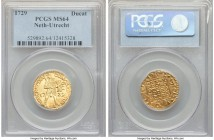 Utrecht. Provincial gold Ducat 1729 MS64 PCGS, KM7.4. Typical weakness exists on the knight's face, though no significant abrasions or marks are detec...