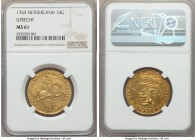 Utrecht. Provincial gold 14 Gulden (Gold Rider) 1763 MS61 NGC, KM104, Fr-288. Perhaps the most recognizable motif of 18th-century Dutch coinage, prese...