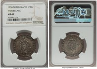 West Friesland. Provincial 1/2 Gulden 1796 MS62 NGC, KM14. The finest example of this date seen by both NGC and PCGS. Minimally marked, with a colorfu...