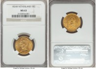 Willem I gold 10 Gulden 1824-B MS63 NGC, Brussels mint, KM56. A satiny example with a wondrous golden glow.  HID99912102018