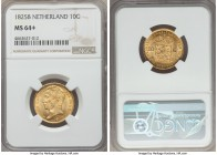 Willem I gold 10 Gulden 1825-B MS64+ NGC, KM56. Natural surfaces, with original toning and superior luster. Currently tied with one other at PCGS at t...