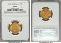 Willem I gold 10 Gulden 1825-B MS64 NGC, Brussels mint, KM56, Fr-329. An exceptional near-gem with ideal tone for any gold issue. Simply magnificent. ...