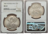 Willem II 2-1/2 Gulden 1845 MS63 NGC, Utrecht mint, KM69.2. Satiny and lustrous, with light ivory tone gripping the peripheral regions. Rarely seen in...