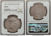 Willem III 2-1/2 Gulden 1867 MS64 NGC, KM82. Beautifully toned, with something akin to a matte appearance and a noticeable touch of colorful iridescen...