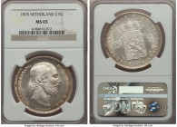 Willem III 2-1/2 Gulden 1870 MS65 NGC, KM82. A white and frosty gem with light peripheral tone. Quite eye-appealing and highly collectible in this gra...