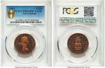 Elizabeth II Proof 1/2 Penny 1963 PR63 Red Cameo PCGS, KM23.2. Estimated Mintage: 10-20. An exceptionally elusive proof issue, sharply struck with wat...
