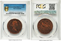 Elizabeth II Proof Penny 1963 PR63 Red Cameo PCGS, KM24.2. Comparable to the proof 1/2 penny of the same year in terms of rarity, the fields soaked in...