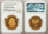 People's Republic gold Proof 500 Zlotych 1976-MW PR68 Ultra Cameo NGC, Warsaw mint, KM-Y85. Near flawless, a modern gold proof of the most vibrant ora...
