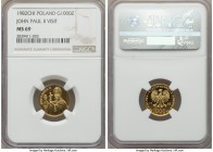 People's Republic gold 1000 Zlotych 1982 MS69 NGC, Valcambi mint, KM-Y138. Mintage of just 900 pieces, issued for the Pope's return to his native Pola...