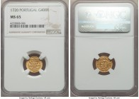 João V gold 400 Reis 1720 MS65 NGC, Lisbon mint, KM201. Powerfully struck and essentially flawless; certainly deserving of a premium bid.   HID9991210...