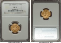 João V gold 1000 Reis 1722 AU58 NGC, Lisbon mint, KM182. A nearly mint-state selection, replete with original mint bloom and sharp details. Well-prese...