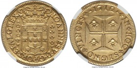 João V gold 4000 Reis 1712-(L) AU58 NGC, Lisbon mint, KM184. A somewhat uncommon type in far better preservation than most, with attractive, antiqued-...