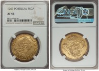 Jose I gold 6400 Reis (Peca) 1763 XF45 NGC, Lisbon mint, KM240. Evenly worn, but otherwise problem-free.   HID99912102018