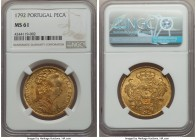 Maria I gold 6400 Reis (Peça) 1792 MS61 NGC, Lisbon mint, KM299. A bold depiction realized within the bust of Maria, with just some minor adjustment m...