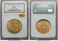 João VI gold 6400 Reis (Peça) 1822 MS63 NGC, Lisbon mint, KM364. A radiant and lustrous piece, the gold of bright color and the strike very sharp. Joã...