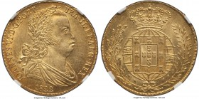 João VI gold 6400 Reis (Peça) 1822 MS63 NGC, Lisbon mint, KM364, Fr-128. Well-struck and attractive for the type, the piece is marked by the profound ...