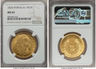João VI gold 6400 Reis (Peça) 1824 MS63 NGC, Lisbon mint, KM364. Lightly toned with cartwheel luster, producing a very eye appealing example.   HID999...