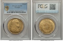 João VI gold 6400 Reis (Peça) 1824 AU58 PCGS, Lisbon mint, KM364. Lustrous, but just a little too much wear on the high points that prevent it from ac...