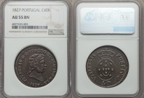 Pedro IV 40 Reis 1827 AU55 Brown NGC, KM373. An imposing and relatively high grade example of this type not often encountered in the auction market. I...