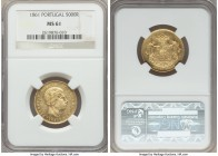 Pedro V gold 5000 Reis 1861 MS61 NGC, KM505. Very lustrous, with no singular marks or defects that jump out and distract the eye.   HID99912102018