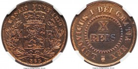 Luiz I copper Proof Pattern 10 Reis 1863 PR65 Red and Brown NGC, KM-Pn133. A glimmering gem, with a delightful crispness expressed throughout the desi...