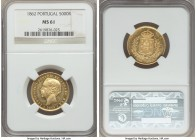 Luiz I gold 5000 Reis 1862 MS61 NGC, KM508. A few scattered hairlines, but extremely eye appealing and certainly worthy of a premium bid.   HID9991210...