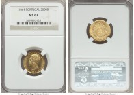 Luiz I gold 2000 Reis 1864 MS62 NGC, KM511. Flashy and almost prooflike, with sharp Mint State detail particularly to Luiz's portrait.  HID99912102018