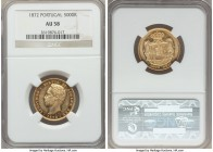 Luiz I gold 5000 Reis 1872 AU58 NGC, KM516. More lustrous in the fields than one might expect considering the grade, with just a little too much rub o...