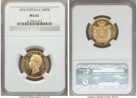 "Luiz I gold 5000 Reis 1874 MS62 NGC, KM516. The fields are so reflective that one wonders whether this should have been given the designation of ""proo..."