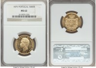 Luiz I gold 5000 Reis 1875 MS62 NGC, KM516. A small discoloration in the obverse left field, but otherwise quite pleasing and highly lustrous.   HID99...