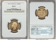 Luiz I gold 5000 Reis 1876 MS61 NGC, KM516. Some chatter in the fields, but the highly lustrous surfaces more than make up for that minor detriments. ...