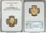 Luiz I gold 5000 Reis 1877 MS61 NGC, KM516. Firmly prooflike, with glassy fields and a strong portrait of Luiz. AGW 0.2614 oz.  HID99912102018