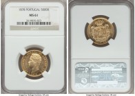 Luiz I gold 5000 Reis 1878 MS61 NGC, KM516. Problem-free and quite attractive when viewed in hand.   HID99912102018