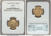Luiz I gold 5000 Reis 1880 AU58 NGC, KM516. A gleaming sun-gold piece with only minor wear in line with the grade.  HID99912102018