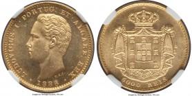 Luiz I gold 5000 Reis 1886 MS64 NGC, KM516. A few faint marks come into view upon close examination, but overall quite nice in hand when viewed by the...
