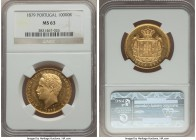 Luiz I gold 10000 Reis 1879 MS63 NGC, KM520. Well-struck, with the reflective fields giving this coin a nearly prooflike appearance.   HID99912102018