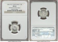 Spanish Colony. Alfonso XIII 10 Centavos 1896-PGV MS64 NGC, KM21. A superb rarity to find so satiny and surprisingly unblemished, the surfaces fully u...