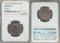 Spanish Colony. Alfonso XIII 40 Centavos 1896-PGV AU Details (Stained) NGC, KM23. Well defined and appealing despite the noted discoloration.  HID9991...