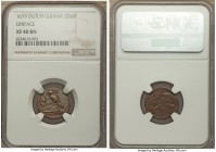 Dutch Guiana copper Uniface 2 Duit 1679 XF40 Brown NGC, KM3, Scholten-1434b (R). A rare offering of this uniface type, circulated here but much better...
