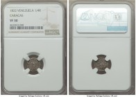 Caracas. Republic 1/4 Real 1822-(c) VF30 NGC, Caracas mint, KM-C31. A fleeting little treasure and highly sought in this wholesome and original condit...