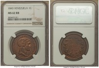 Republic Centavo 1843-(l) MS62 Red and Brown NGC, London mint, KM-Y3.1. A single-year emission that seldom survives so fine--just two pieces graded hi...