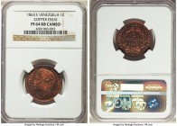 Republic copper Proof Essai Centavo 1863-E PR64 Red and Brown Cameo NGC, Paris mint, KM-E1. Predominantly red and rather reflective in the fields, wit...