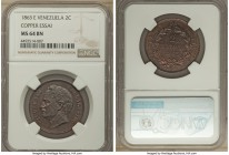 Republic copper Essai 2 Centavos 1863-E MS64 Brown NGC, Paris mint, KM-E2. Noticeably prooflike in the fields, the subdued dark brown of the surfaces ...